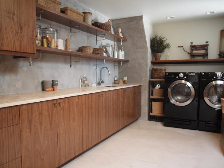 Laundry Room Wood Shelving