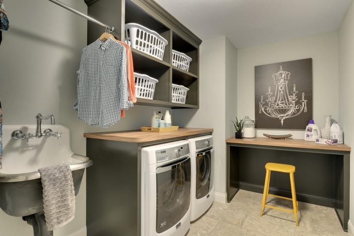 gray laundry room shelving