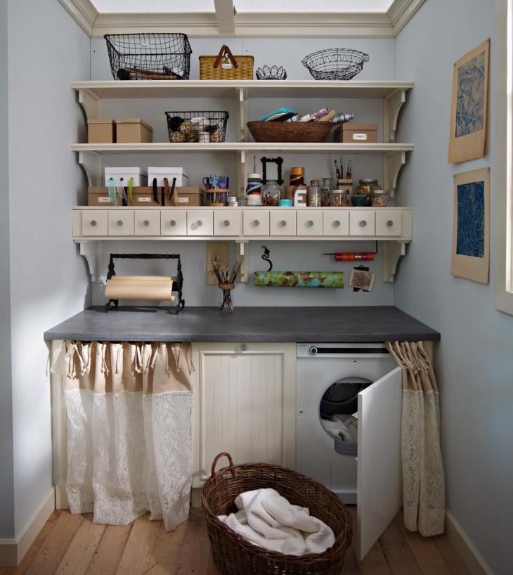 farmhouse laundry room shelving