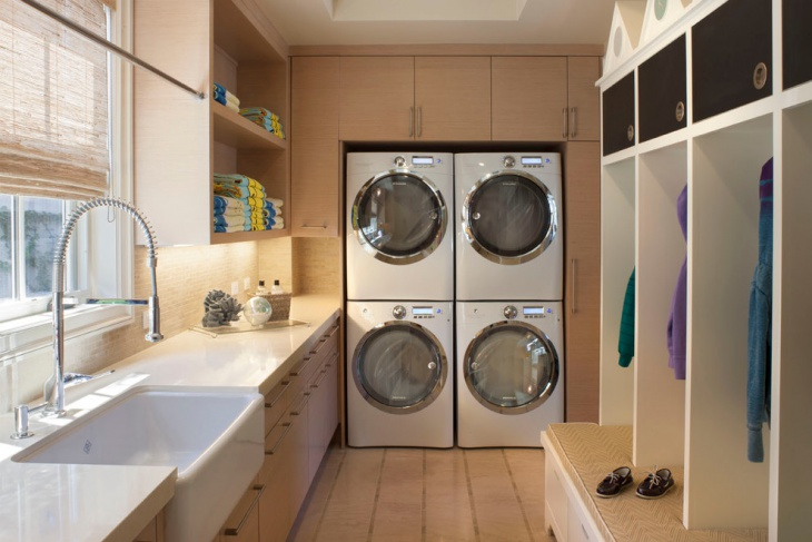 traditional laundry room shelving designs