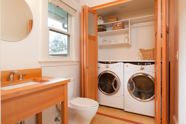 bathroom side laundry room shelving