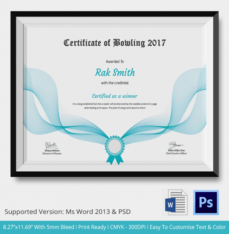 5 bowling certificates psd word designs design for Bowling certificates template free
