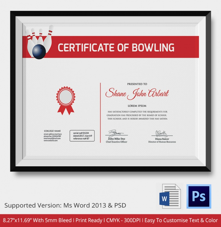 5 Bowling Certificates Psd Word Designs Design Trends