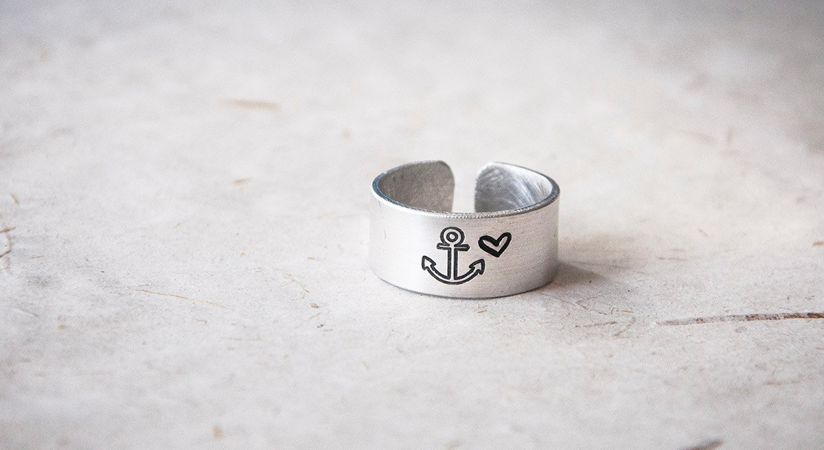 Anchor Heart Ring