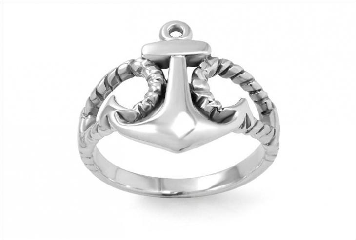 Silver Anchor Ring Design