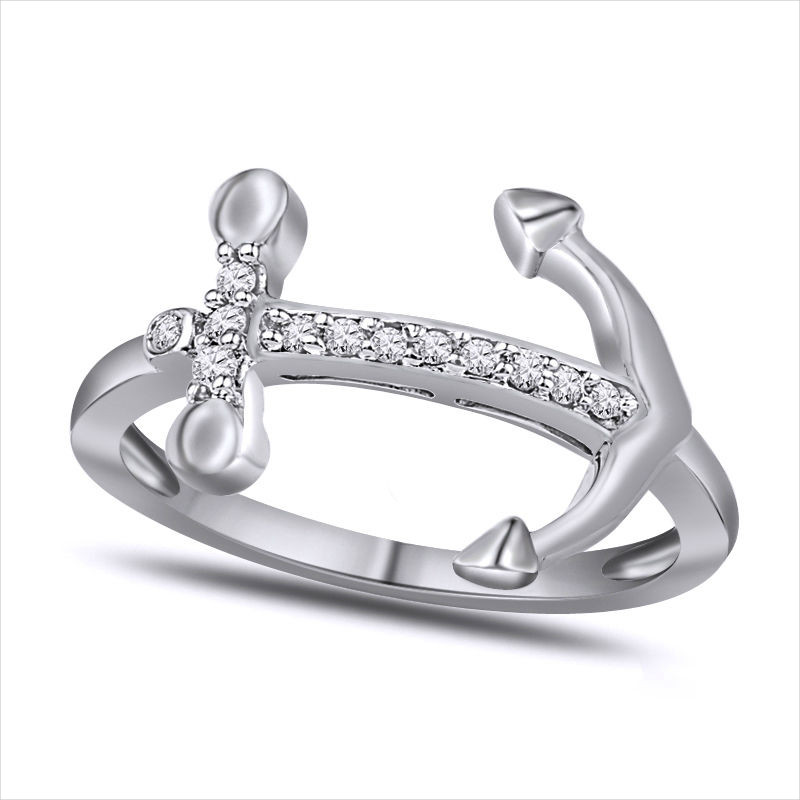 White Gold Anchor Ring