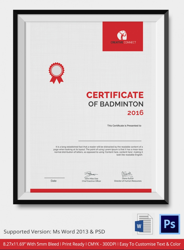 5 badminton certificates psd word designs design trends letterhead style badminton certificate yadclub Image collections
