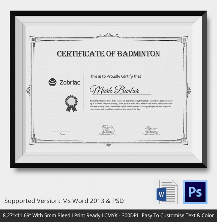 5 badminton certificates psd word designs design trends floral badminton certificate yadclub Image collections