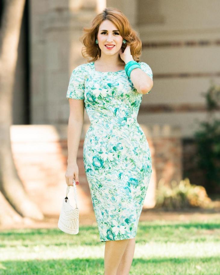 floral print wiggle dress