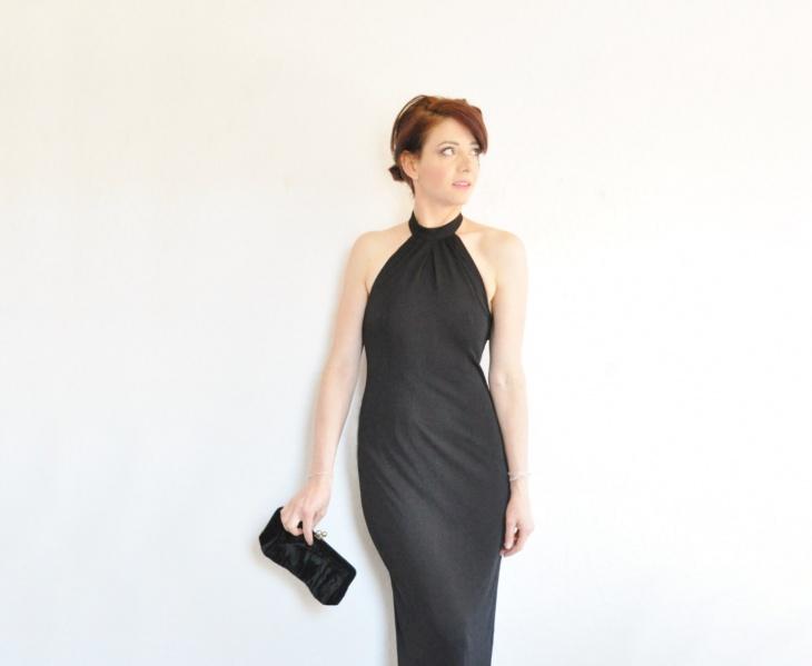 halter neck wiggle dress