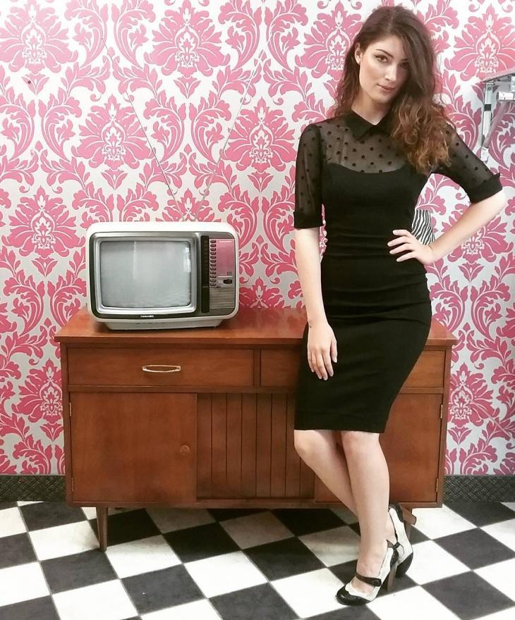 black wiggle dress