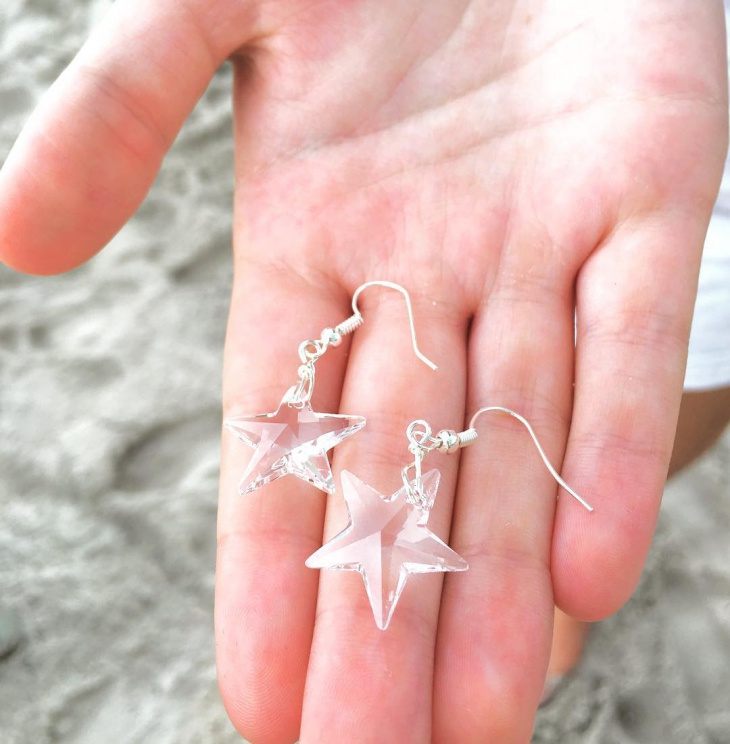 white crystal star earrings