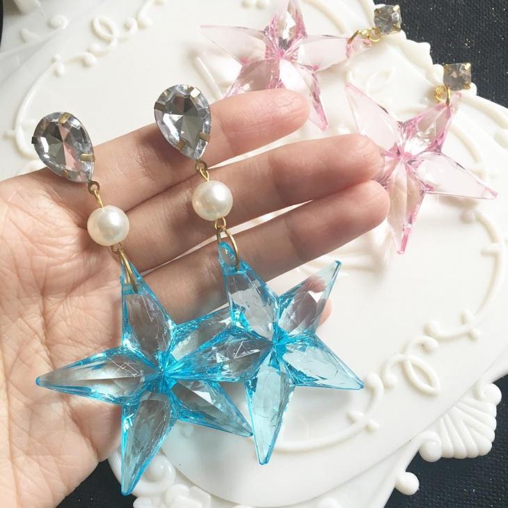 pretty blue star earrings