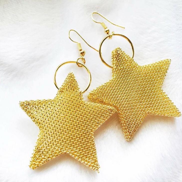 big star gold earrings