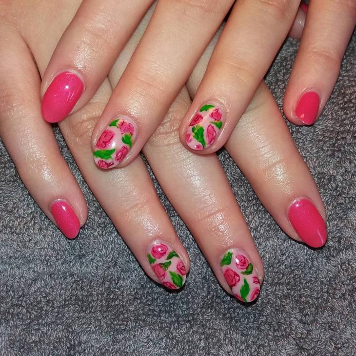 pink flower nail design1