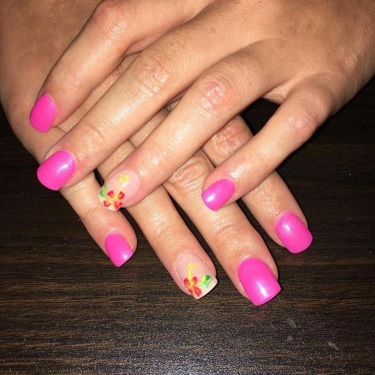 hawaiian flower nail design