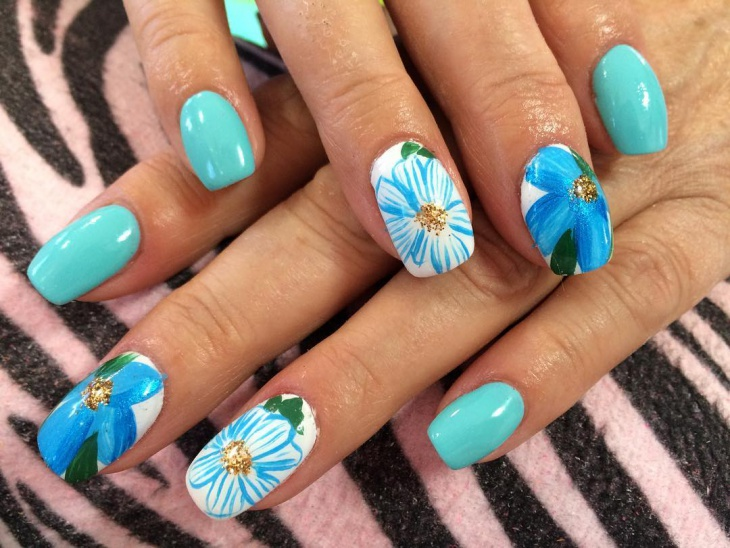lily flower nail design