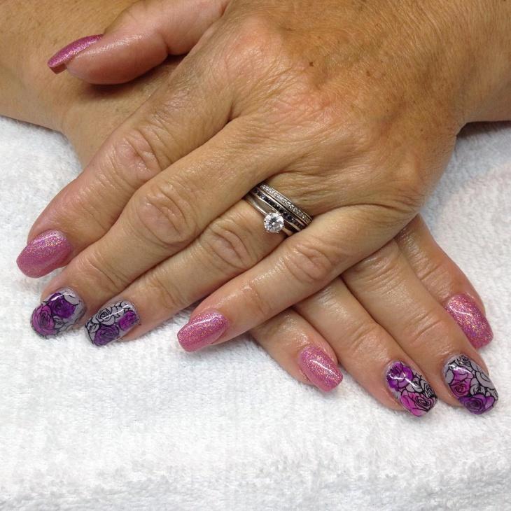 flower shellac nails idea