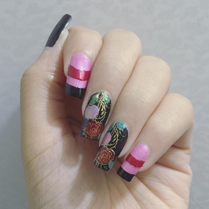 rose flower nail design