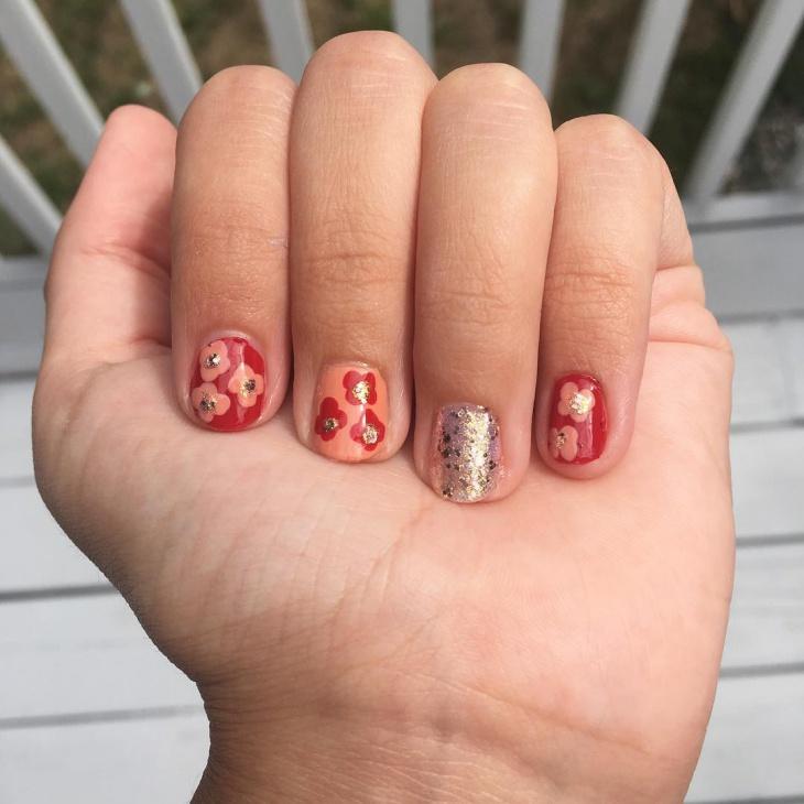flower glitter nails design