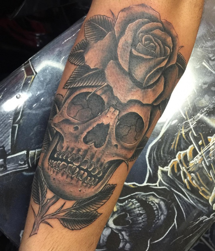 skull and rose tattoo designv