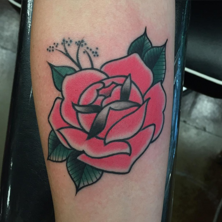 traditional rose tattoo design