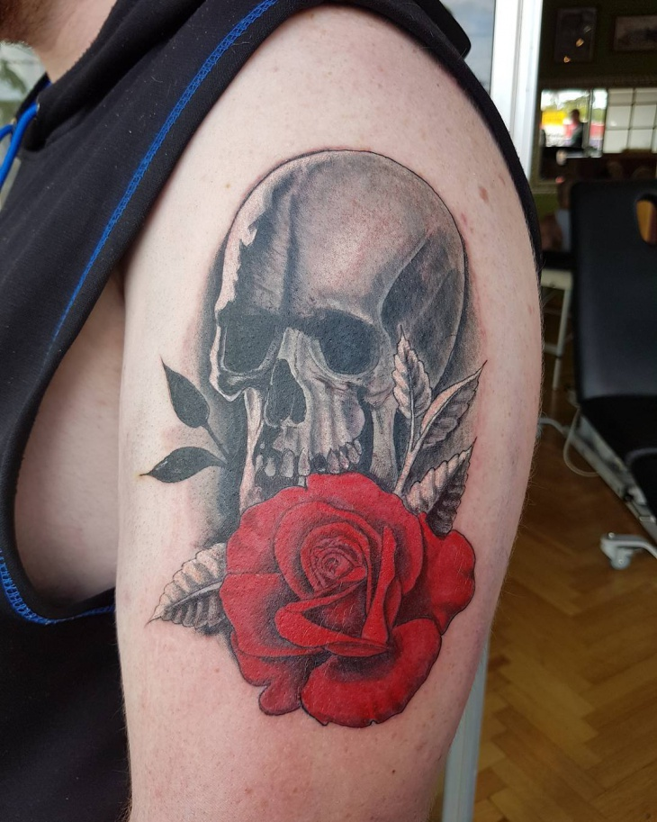 red rose tattoo idea