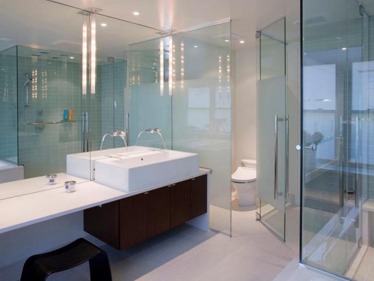 Modern Bathroom Glass Wall Idea