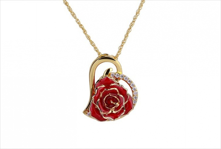 rose heart pendant necklace