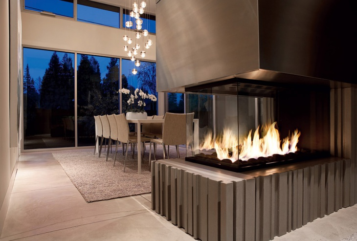 modern open fireplace