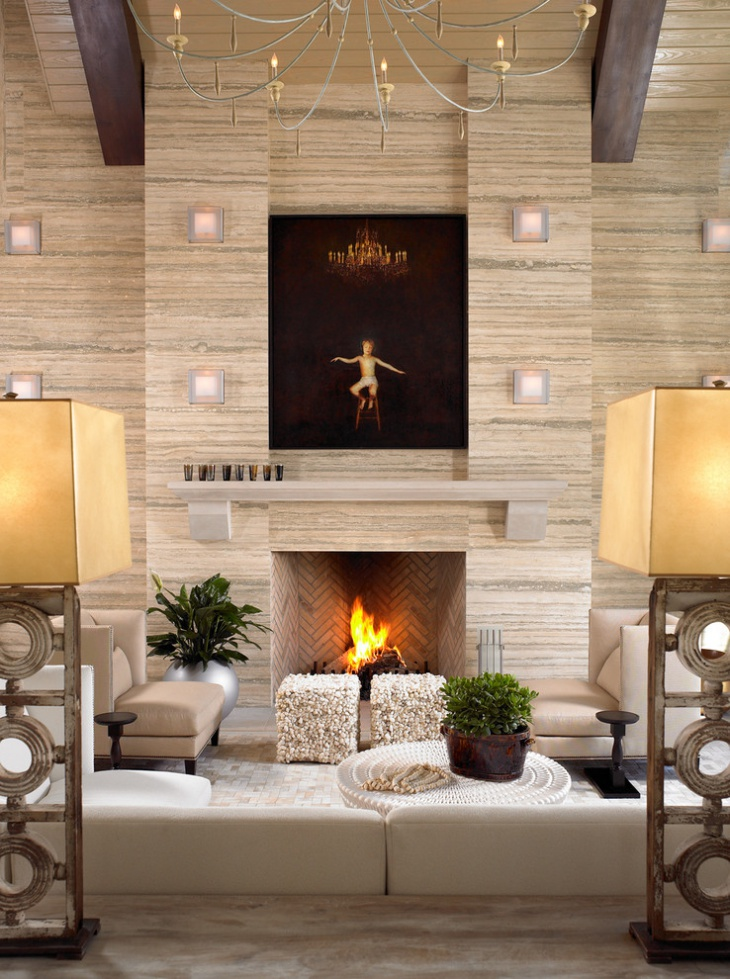 modern fireplace wall light idea