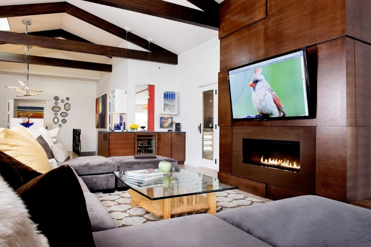 modern hardwood fireplace idea