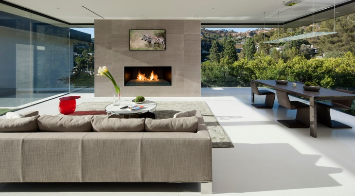 modern sunroom fireplace