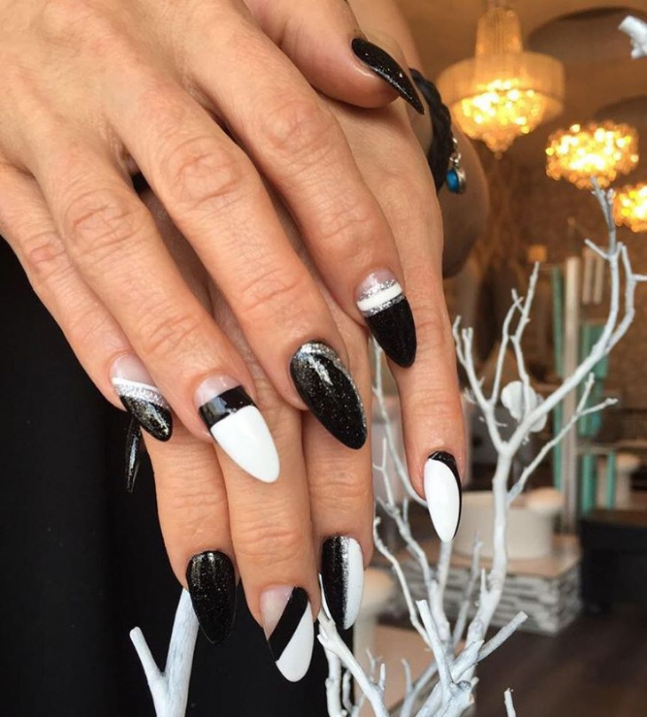 21 black and white nail art designs ideas design trends black and white acrylic nail design prinsesfo Images