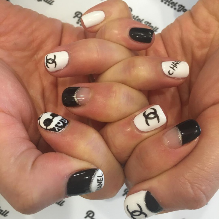 black and white nails manicure