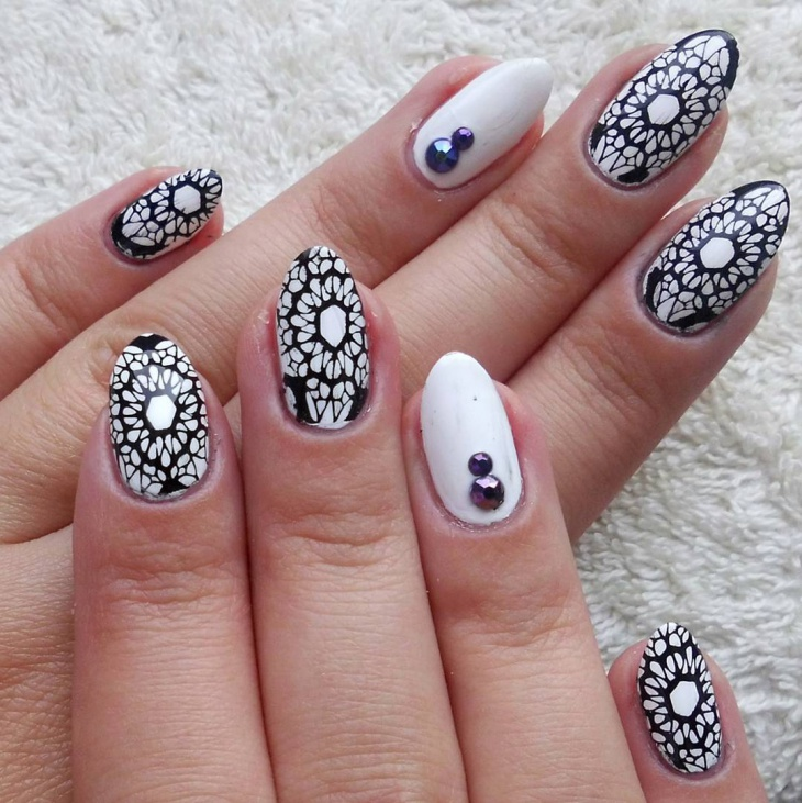black and white lace nail design