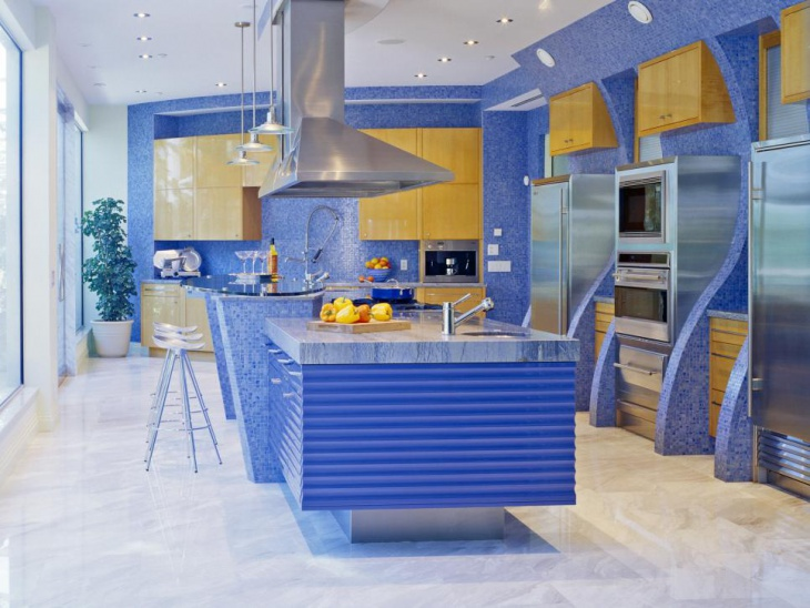 Blue Modern Kitchen Wall Tile