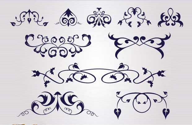 floral and swirl ornaments vector