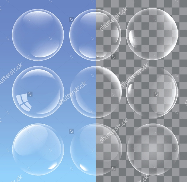 transparent water bubbles vector