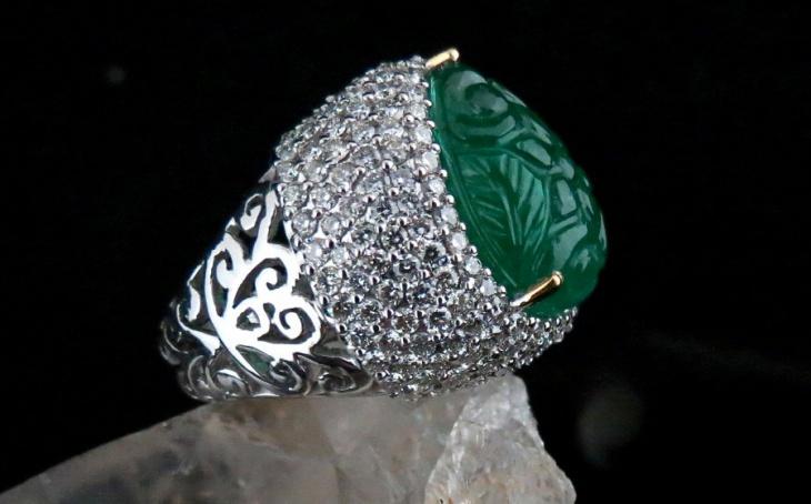 Pear Shaped Emerald Ring Design for Men