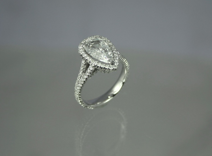 pear shaped halo ring for men