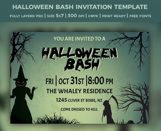 halloween party bash invitation