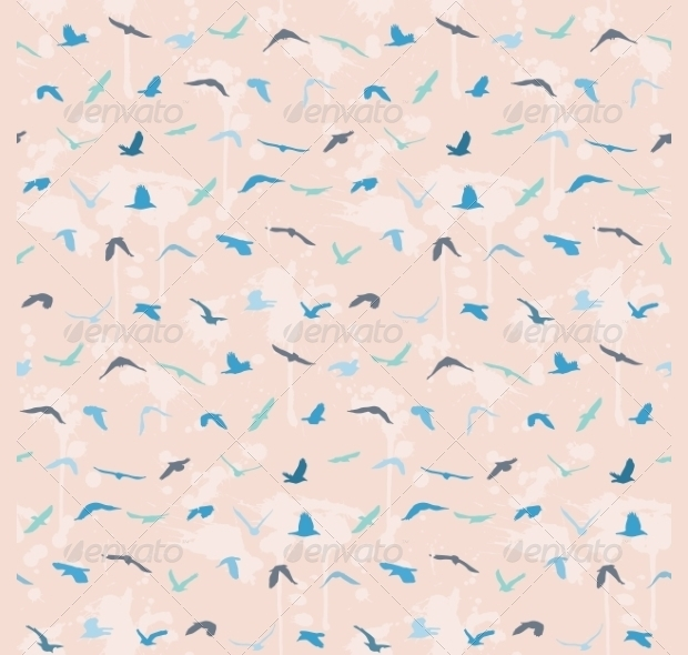 blue and pink birds seamless pattern