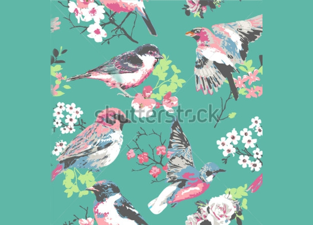 spring birds seamless pattern