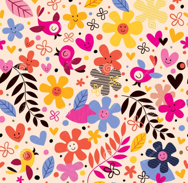 flowers and birds pattern