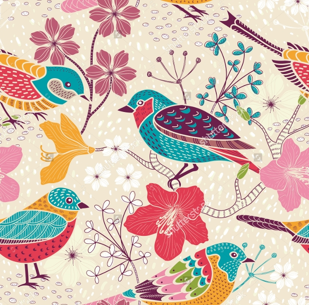 colorful floral bird seamless pattern