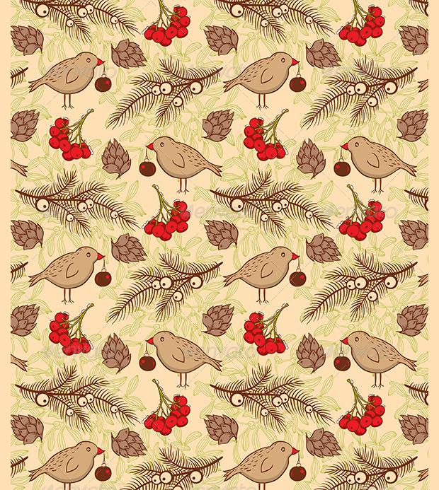 decorative bird seamless pattern