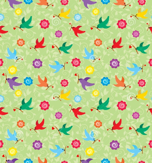 colorful flying birds pattern