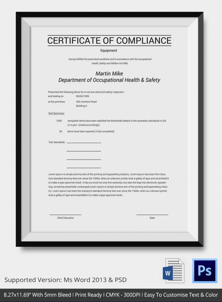 Company Certificate of Compliance