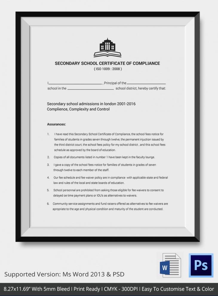 School Certificate of Compliance